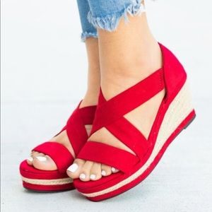 Shoes - Size 6 Red Espadrille Shoe